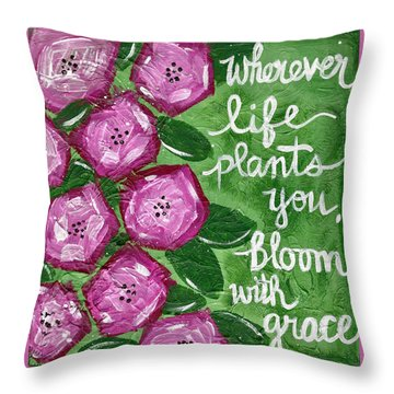 Bloom With Grace Throw Pillow