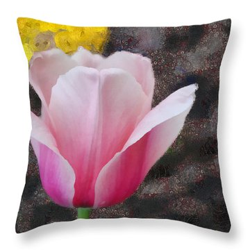 Throw Pillow featuring the mixed media Bloomin' by Trish Tritz