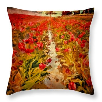 Bloomin Tulips Throw Pillow by Dale Stillman