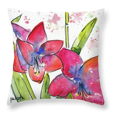 Throw Pillow featuring the painting Blooming Amaryllis by Pat Katz