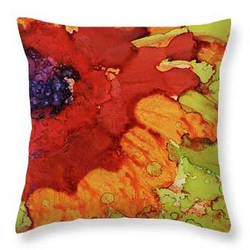 Throw Pillow featuring the painting Blooming Cactus by Cynthia Powell