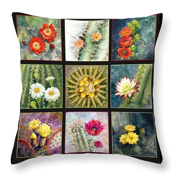 Throw Pillow featuring the painting Blooming Cactus by Marilyn Smith
