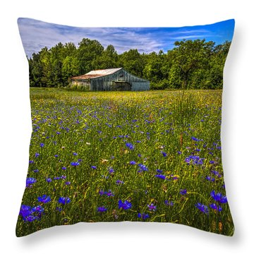 Blooming Country Meadow Throw Pillow