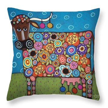 Blooming Cow Throw Pillow by Karla Gerard