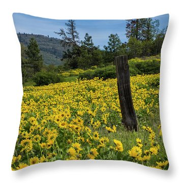 Blooming Fence Throw Pillow