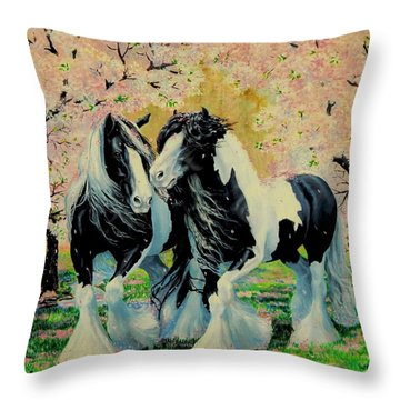 Blooming Gypsies Throw Pillow