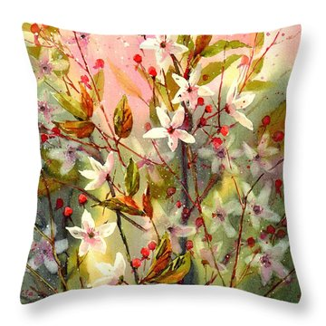 Blooming Magical Gardens I Throw Pillow