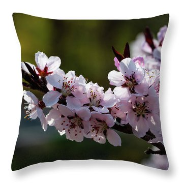 Blooming Peach Tree Throw Pillow