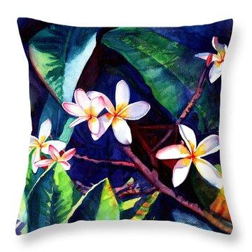 Blooming Plumeria Throw Pillow