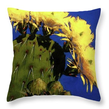Blooming Prickly Pear Throw Pillow