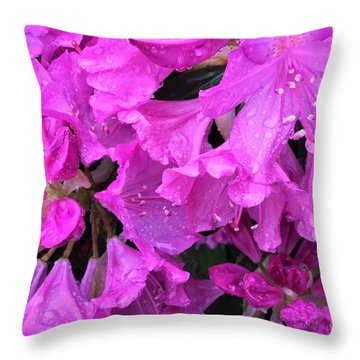 Blooming Rhododendron Throw Pillow
