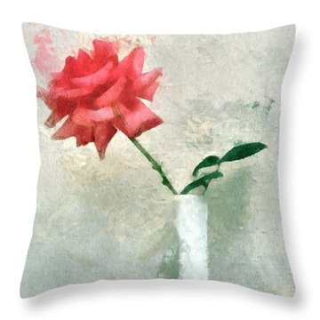Blooming Rose Throw Pillow