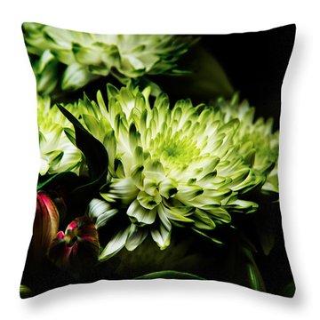 Blooming White Dahlia Throw Pillow