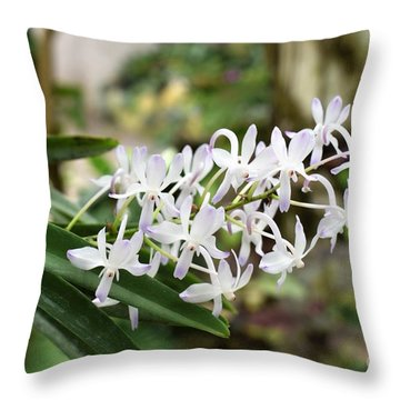 Blooming White Flower Spike Throw Pillow