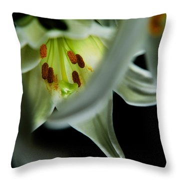 Throw Pillow featuring the photograph Blooming White Lily Closeup by Dennis Dame