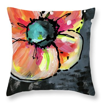 Throw Pillow featuring the mixed media Blooming Wildflower- Art By Linda Woods by Linda Woods