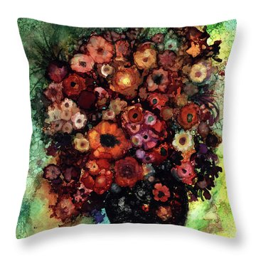 Blooms And Black Onyx Throw Pillow