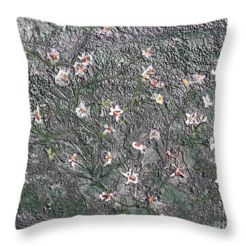 Blooms In Stone Throw Pillow