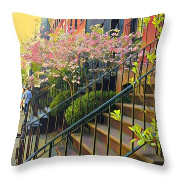 Blooms Of New York Throw Pillow