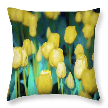 Blooms Of Yellow Throw Pillow
