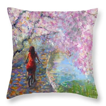 Blossom Alley Impressionistic Painting Throw Pillow by Svetlana Novikova