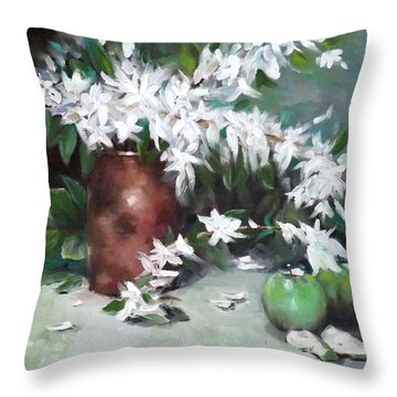 Blossom And Apples Throw Pillow