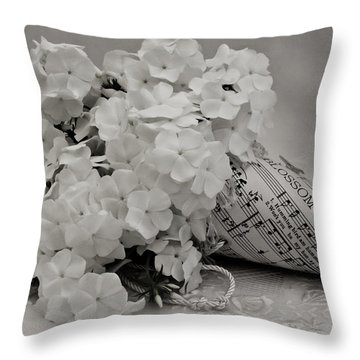 Blossom And The Bee Cornucopia  Throw Pillow by Sandra Foster