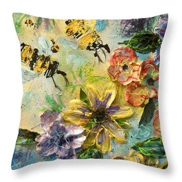 Blossom Buzz Throw Pillow