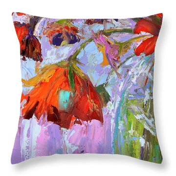 Throw Pillow featuring the painting Blossom Dreams In A Vase Oil Painting, Floral Still Life by Patricia Awapara