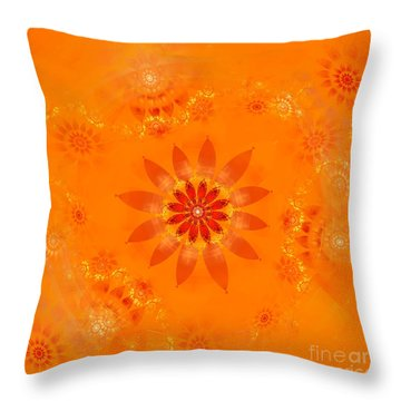 Throw Pillow featuring the digital art Blossom In Orange by Richard Ortolano