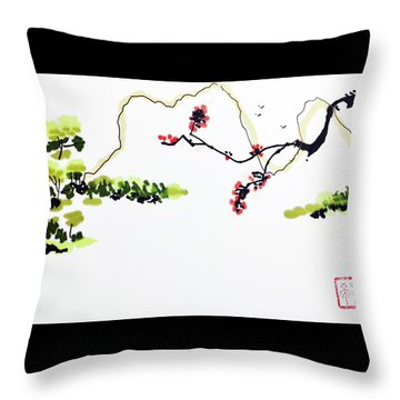 Blossom Mountain Throw Pillow
