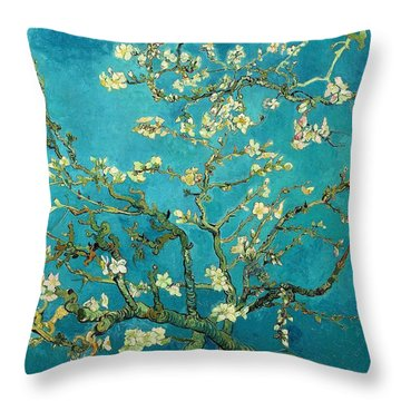 Throw Pillow featuring the painting Blossoming Almond Tree by Van Gogh