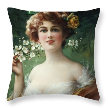 Blossoming Beauty Throw Pillow by Emile Vernon