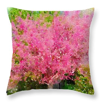 Blossoming Crabapple Tree Throw Pillow by Donald S Hall
