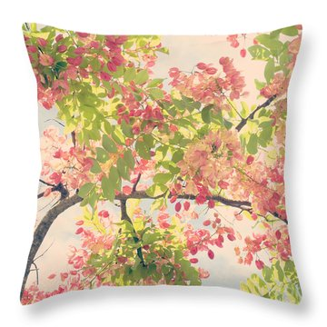 Throw Pillow featuring the photograph Blossoming Pink Shower Tree - Hipster Photo Square by Charmian Vistaunet