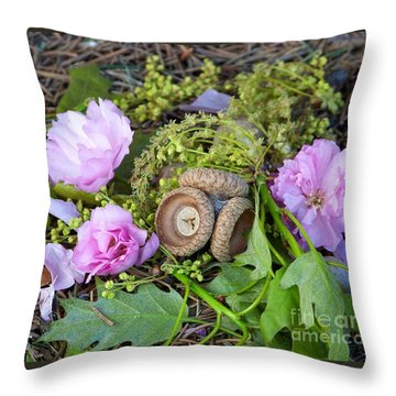 Throw Pillow featuring the photograph Blossoms And Acorn by Charles Robinson