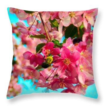 Blossoms And Bees Throw Pillow