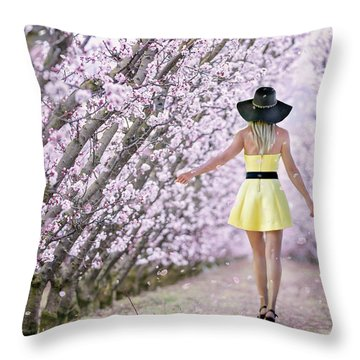Blossoms Falling Like Snow Throw Pillow