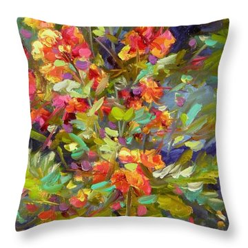 Throw Pillow featuring the painting Blossoms Of Hope by Chris Brandley