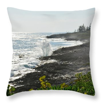 Blow Hole Coastline Throw Pillow