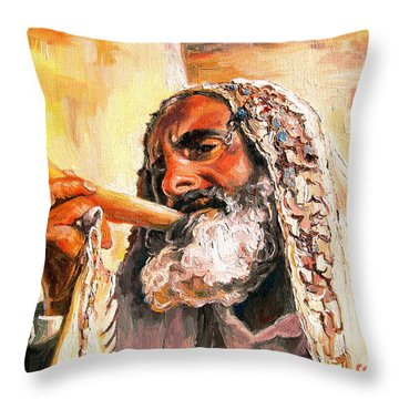 Blow The Trumpet In Zion Throw Pillow by Carole Spandau