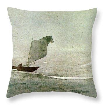 Blowen Away Throw Pillow by Winslow Homer