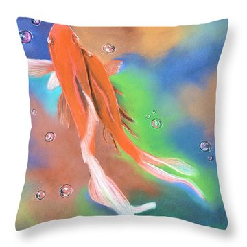 Blowing Bubbles 2 Throw Pillow by Jan Amiss