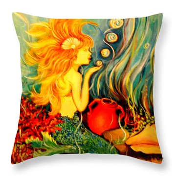 Throw Pillow featuring the painting Blowing Bubbles by Yolanda Rodriguez