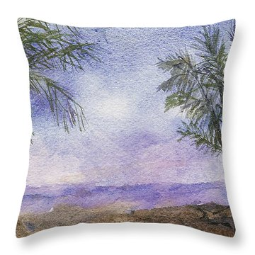 Throw Pillow featuring the painting Blowing By The Ocean by Vicki  Housel