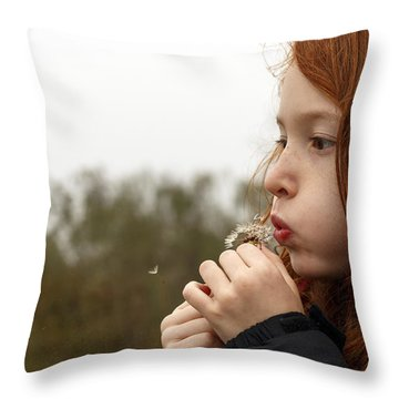 Blowing Dandelions Throw Pillow