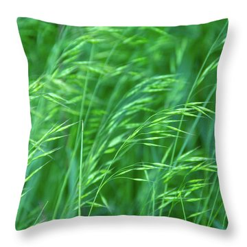 Blowing Green Throw Pillow