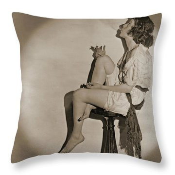 Throw Pillow featuring the photograph Blowing Smoke 1922 by Padre Art
