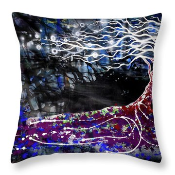 Blowing Tree Throw Pillow