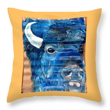 Blu Bison Throw Pillow